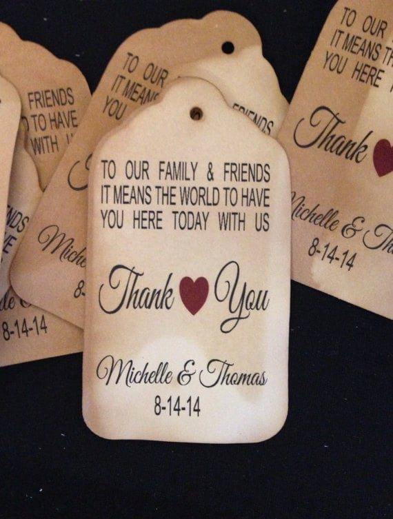 Wedding Gift For High School Friend : To Our Family and Friends Thank you Tag SMALL 2 Favor