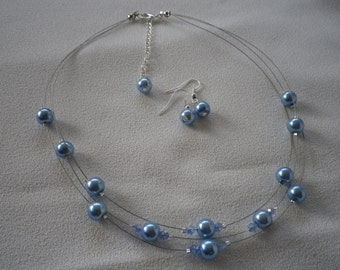 SALE Three Stranded Cornflower Blue Floating Pearls with Crystal Accents Necklace and Earrings Set