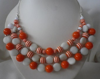 SALE White and Orange Collar Bib Necklace and Complimentary Earrings