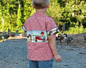 Boys Bowling Shirt Tractor and Farm