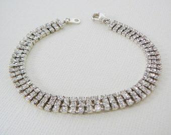 Vintage .. Clear Czech Rhinestone Bracelet Silvertone Vintage Bride Wedding Jewelry