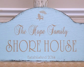SHORE HOUSE sign, Jersey shore sign, custom family sign, personalized family shabby sign, beach cottage sign, down the shore