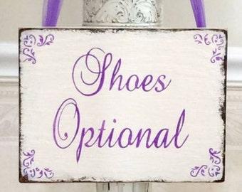 Wedding sign, SHOES Optional sign, beach wedding sign, shabby rustic wooden sign, rustic wedding sign