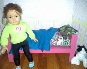 American Girl Bed with mattress pillow and blanket
