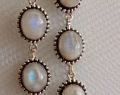 Sterling Silver White Moonstone Dangle Earrings, Gemstones, Statement, Opalescent, StudioMR