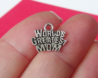 "10 ""World's Greatest Mom"" Charms 14x12mm"