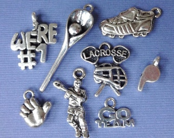8 Lacrosse Theme Charms