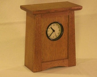 Arts & Crafts, Mission Style Clock - Quarter Sawn White Oak