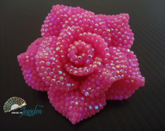 42mm Hot/Light Pink GLITTER Resin Rose Flower Bead Connector - 4x