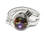 Steampunk Jewelry - Ring - Volcano Swarovski Crystal - Silver tone