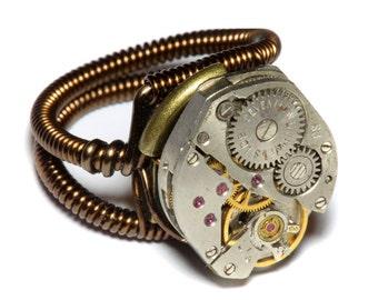 Steampunk Ring - Antique Vintage Watch Movement