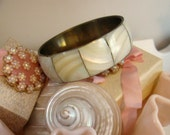 White Mother of Pearl and Brass Bangle Bracelet Ivory
