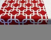 """SAMPLE SALE- RUNNER 26-29""""  white on red chain print geometric Table runner rpst"""