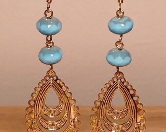 Blue Czech bead, brass hoop earrings