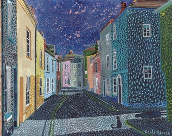 Middle Street A Ltd edition, numbered and signed A4 print from a Painting by Richard Friend