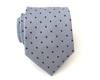 Mens Tie. Silver Gray Tie. Silver Gray and Black Dot Silk Tie With Matching Pocket Square Option