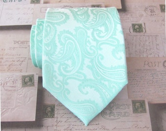 Mint Paisley Mens Tie. Wedding Ties. Pastel Mint Green Paisley Mens Neckties