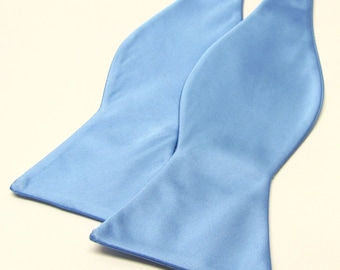 Freestyle Mens Bowtie. Periwinkle Blue Bowties. Sky Blue Self Tie Bow tie With Matching Pocket Square Option