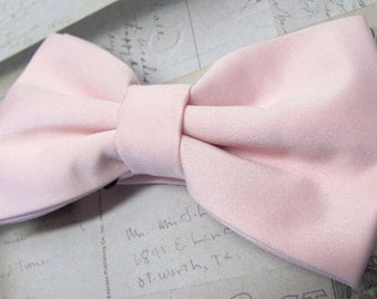 Mens Bowtie. Pale Pink Bowtie With Matching Pocket Square Option