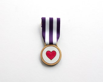 Heart Medal, Handmade Medal, Wooden Brooch, Laser Cut, Made in Brighton, UK