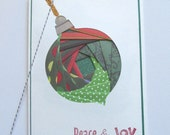 Handmade Holiday Greeting Card - Peace and Joy - Iris Fold Ornament