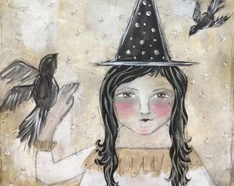 SALE Primitive Folk Art Mixed Media Original Witch Painting EHAG PFATT