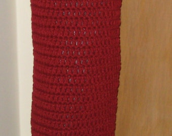 CLEARANCE SALE Crochet Kitchen Bag Holder in Burgandy and White