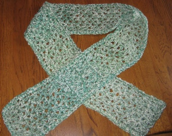 SALE Green and White Crochet Homespun Scarf
