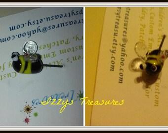 Glass Lampwork Bee Veil Pin