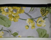 Silk zipper pouch,grey floral vintage material, makeup, jewelry, keys, phone, cards, personal items, more