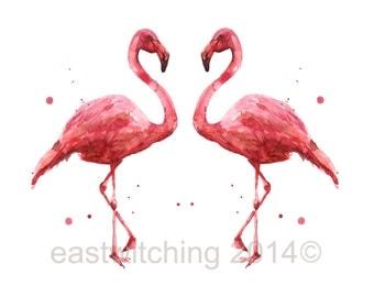 FLAMINGO Print, 8x10 print, watercolor birds, ready to frame, beach house decor