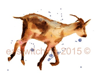 Watercolor GOAT print, 8x10 print, ready to frame, farm animals, kids wall art, watercolour animals