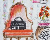 Sketch, Illustration, Chanel Art Print, My Red Velvet Bergere, Reproduction of my Original Sketch