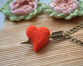 Valentine gift for her Felted red heart Cupid arrow bracelet or necklace Valentine's jewelry felted wool bronze charm pendant Weddings love