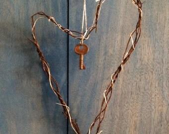 Beach Wire Heart -  Key to My Heart, or To My Cottage Door Valentine home gift wedding aniversary beach house style garden art.