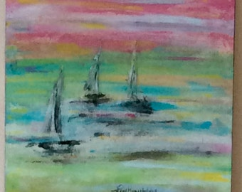Acrylic Painting. 3 sailboats in South Haven on Lake Michigan