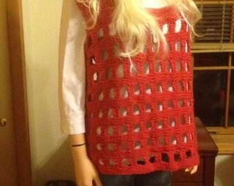 Medium Ladys Tank Tunic Red Sweater