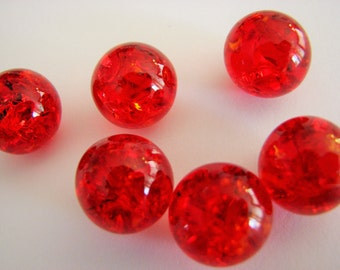 14mm Ruby Red Crackled Glass Marbles 10 pieces Cracked Baked Game Pieces
