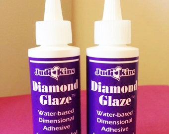 1 Judikins Diamond Glaze Glue 2 oz. ounce Bottle Dimensional Adhesive Resin Glass ONE TIME ONLY Glass Tile Sealer Clear Lacquer