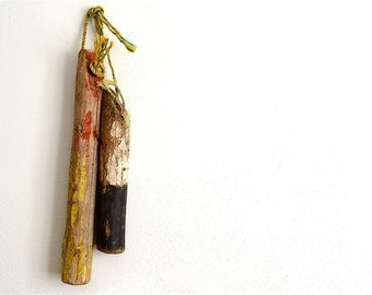 Weathered Wooden Buoy - Red and Yellow