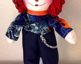Motorcycle Raggedy Andy Doll  - Handmade 15 inches tall - Ready to ship
