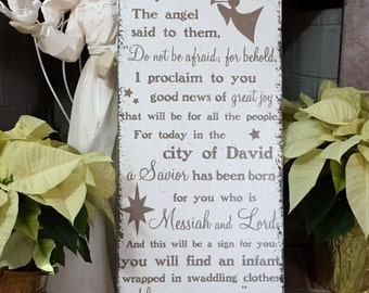 CHRISTMAS SIGN, Luke 2: 10-12, NATIVITY Sign, Bible Story Sign, 12 x 24