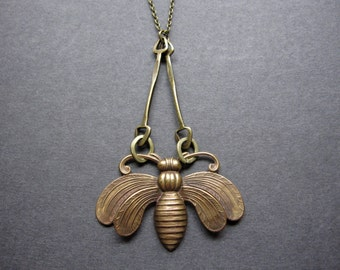 Bee Necklace, Bumble Bee, Woodland Necklace, Antique Brass, Nature Lover, Bold, Forest Creature, Bug, Insect Necklace, Long Chain, Brass