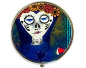 Day of the Dead Pill Box Stash Case Silver Dia de los muertos