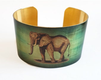 Gentle Elephant cuff bracelet brass or aluminum Gifts for her