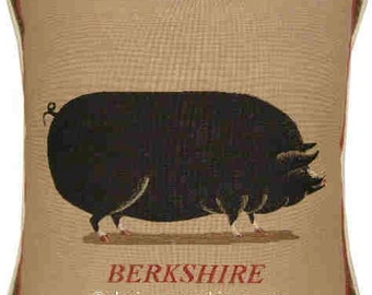 Old Fashioned Berkshire Pig Tapestry Cushion Cover Sham