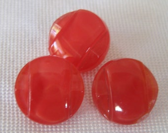Set of 3 VINTAGE Red Glass BUTTONS