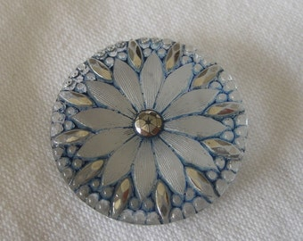Large ANTIQUE Blue Tint Lacy Glass Flower Button