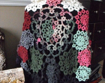Needle Tatted Yarn Lace Shawl Caplet Poncho in Green, Black, Dusty Rose and Maroon shades  OOAK Luxurious Yarns Warm and Super Soft
