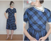 Vintage 50s Blue and Black Plaid Day Dress with White Neck Kerchief - sz S/M